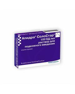 Apidra SoloStar solution for subcutaneous administration 100U / ml, 3ml No. 5 syringe-pen   Buy Online