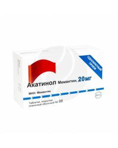 Akatinol Memantine tablets 20mg, No. 98   Buy Online