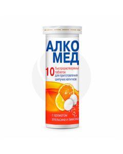 Alcomed effervescent tablets orange-lemon dietary supplement, No. 10 | Buy Online