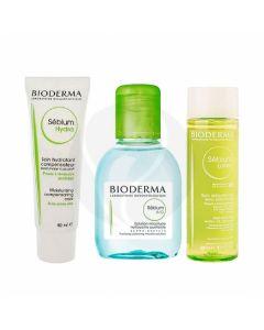 Bioderma Sebium gift set H2O solution + hydra cream + lotion, 100ml + 40ml + 50ml | Buy Online