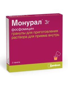 Buy cheap fosfomycin   Monural granules for solution for oral administration 3 g sachets 2 pcs. online www.buy-pharm.com