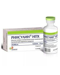 Buy cheap Insulin-yzofan chelovecheskyy genetically Inzhenernyi | Rinsulin NPH suspension for p / kozhn.vved. 100 IU / ml vial 10 ml pack online www.buy-pharm.com