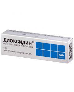 Buy cheap Hydroksymetylhynoksylyndyoksyd   Dioxidin ointment 5%, 30 g online www.buy-pharm.com
