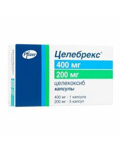 Buy cheap Celecoxib   Celebrex capsules 400 mg 1 pc. + 200 mg 5 pcs. pack online www.buy-pharm.com