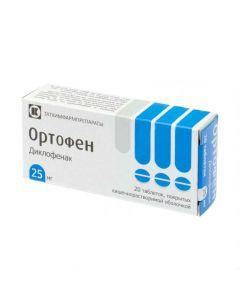 Buy cheap Diclofenac   Orthofen tablets 25 mg, 20 pcs online www.buy-pharm.com