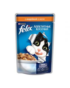 Felix (Felix) for cats Turkey appetizing pieces in spider jelly 85g - cheap price - buy-pharm.com