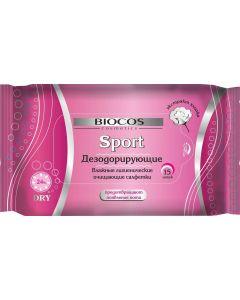 Buy BioCos Wet wipes 'Sport', deodorizing, for women, 15 pcs | Online Pharmacy | https://buy-pharm.com