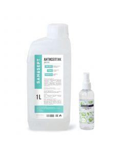 Buy San Sept Antiseptic (sanitizer) for hands and surfaces 1 liter + bottle 100 ml, alcohol 70%, aloe aroma | Online Pharmacy | https://buy-pharm.com