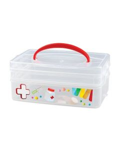 Buy Universal box with handle and decor 'MULTI BOX' 2 SECTIONS, 245Х160х165 ММ | Online Pharmacy | https://buy-pharm.com