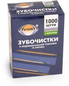 Buy BAMBOO toothpicks, individually PP-wrapped, C MENTOLOM, 1000 pcs. in a cardboard box, AVIORA | Online Pharmacy | https://buy-pharm.com