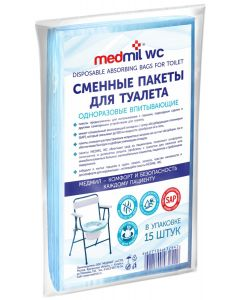 Buy Medmil Replacement bags for toilet, absorbent, disposable, 15 pcs | Online Pharmacy | https://buy-pharm.com