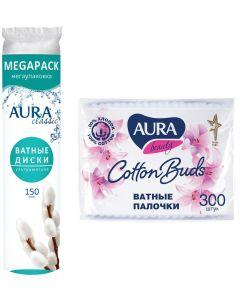 Buy Hygiene set Aura Classic cotton pads, 150 pcs + Cotton swabs, 300 pcs | Online Pharmacy | https://buy-pharm.com