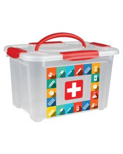 Buy Universal box with handle and decor 'FIRST AID KIT' 5.5 l (colorless) | Online Pharmacy | https://buy-pharm.com