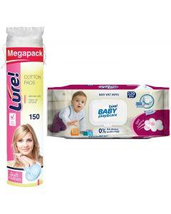 Buy Lure hygiene kit Cotton discs, 150 pcs + Wet wipes, baby, 120 pcs   Online Pharmacy   https://buy-pharm.com