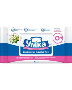 Buy Umka Wet wipes for children, corrugated cloth, 70 pcs | Online Pharmacy | https://buy-pharm.com