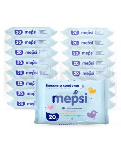Buy Mepsi Children's wet wipes, 360 pcs (18 pack x 20 pcs) | Online Pharmacy | https://buy-pharm.com