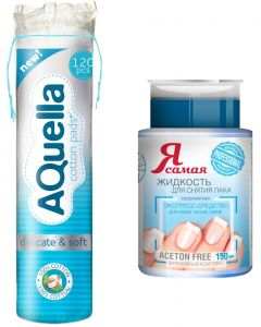 Buy Hygiene kit Aquella cotton pads, 120 pcs + Nail polish remover I am the Professional, with a pump-dispenser, 150 ml | Online Pharmacy | https://buy-pharm.com