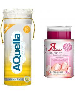 Buy Hygiene set Aquella cotton pads, 80 pcs + I am the most Sensitive nail polish remover, with pump-dispenser, 150 ml | Online Pharmacy | https://buy-pharm.com