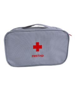 Buy First aid kit bag 'First aid' for home and travel, travel bag for medicines and medicines with 3 compartments, soft case, gray, 24x14x8cm | Online Pharmacy | https://buy-pharm.com