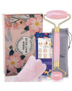 Buy Roller-massager + scraper for massage Gua sha made of pink jade | Online Pharmacy | https://buy-pharm.com