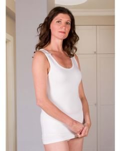 Buy Adaptive underwear T-shirt for women with buttons fastening on both shoulders (Size 50-52), XL, 160 g | Online Pharmacy | https://buy-pharm.com