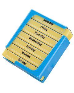 Buy Pillbox Homsu, rectangular, for 7 days, color: blue, yellow, 10.5 x 12.6 x 4.3 cm | Online Pharmacy | https://buy-pharm.com
